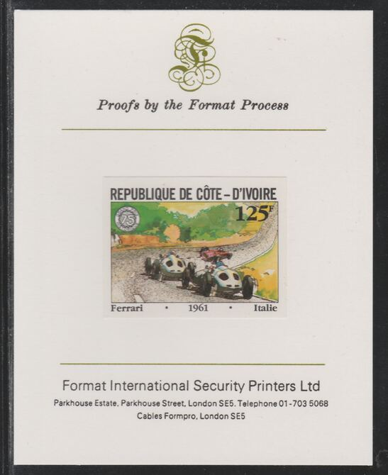 Ivory Coast 1981 French Grand Prix 125f Ferrari imperf mounted on Format International proof card as SG 703