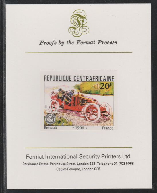 Central African Republic 1981 French Grand Prix 20f Renault imperf mounted on Format International proof card as SG 786