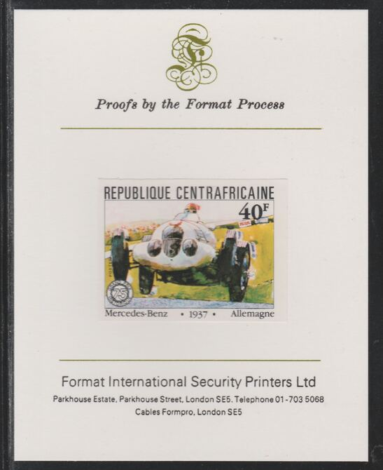 Central African Republic 1981 French Grand Prix 40f Nercedes Benz imperf mounted on Format International proof card as SG 787
