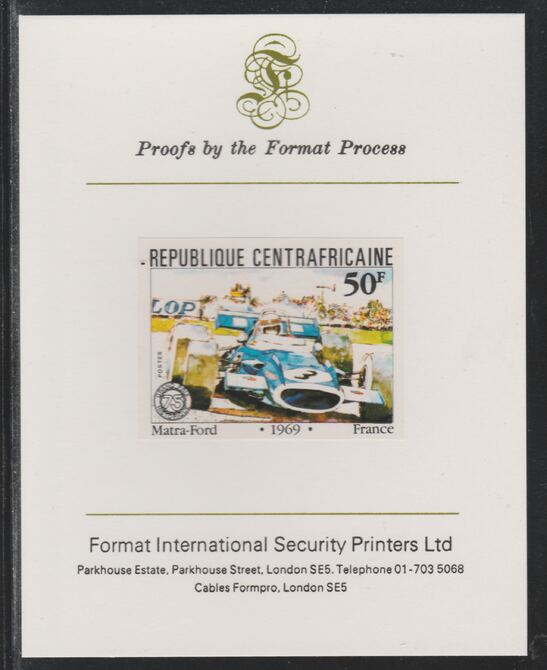 Central African Republic 1981 French Grand Prix 50f Matra Ford imperf mounted on Format International proof card as SG 788