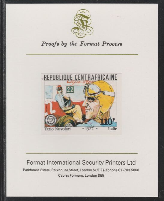 Central African Republic 1981 French Grand Prix 110f Tazio Nuvolari imperf mounted on Format International proof card as SG 789