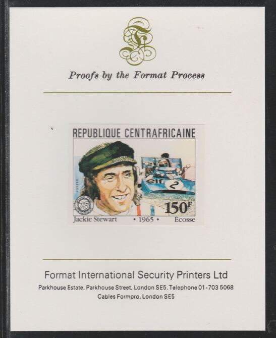 Central African Republic 1981 French Grand Prix 150f Jackie Stewart imperf mounted on Format International proof card as SG 790