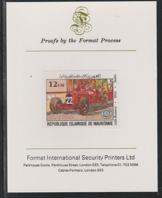 Mauritania 1982 French Grand Prix 12um Alfa Romeo imperf mounted on Format International proof card as SG 725