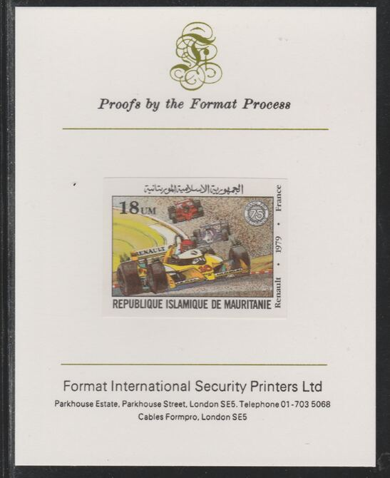 Mauritania 1982 French Grand Prix 18um Renault imperf mounted on Format International proof card as SG 727