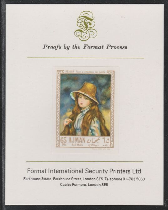 Ajman 1967 Paintings - Girl with a Straw Hat by Renoir imperf mounted on Format International proof card as Michel 210B