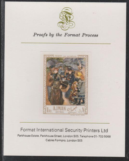 Ajman 1967 Paintings - Umbrellas by Renoir imperf mounted on Format International proof card as Michel 211B