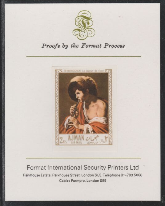 Ajman 1967 Paintings - Boy Playing Flute by Terbrugghen imperf mounted on Format International proof card as Michel 213B