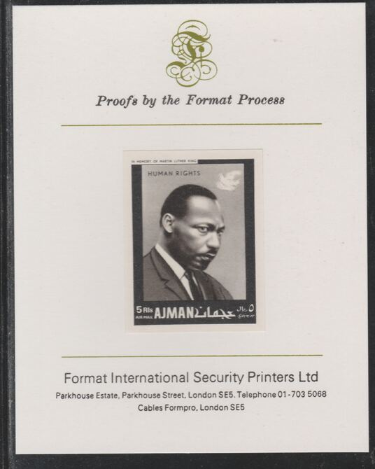 Ajman 1968 Human Rights - Martin Luther King 5R imperf mounted on Format International proof card as Michel 295B