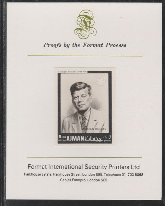 Ajman 1968 Human Rights - John F Kennedy 5R imperf mounted on Format International proof card as Michel 296B