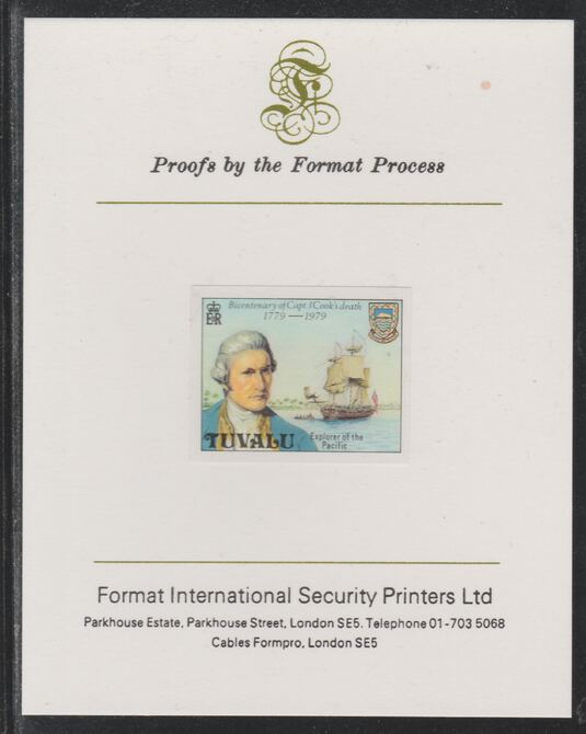 Tuvalu 1979 Capt Cook Death Anniversary (undenominated but as 8c) imperf mounted on Format International proof card (as SG 123)