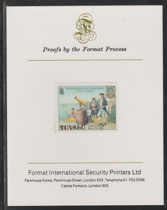 Tuvalu 1979 Capt Cook Death Anniversary (undenominated but as 40c) imperf mounted on Format International proof card (as SG 125)