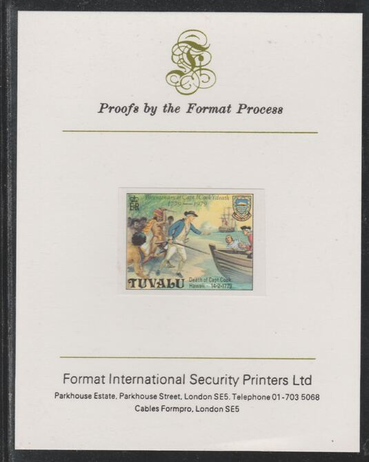 Tuvalu 1979 Capt Cook Death Anniversary (undenominated but as $1) imperf mounted on Format International proof card (as SG 126)