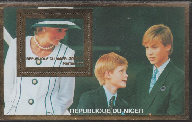 Niger Republic 1997 Princess Diana with William & Harry (Gold frame) perf souvenir sheet unmounted mint.. Note this item is privately produced and is offered purely on its thematic appeal