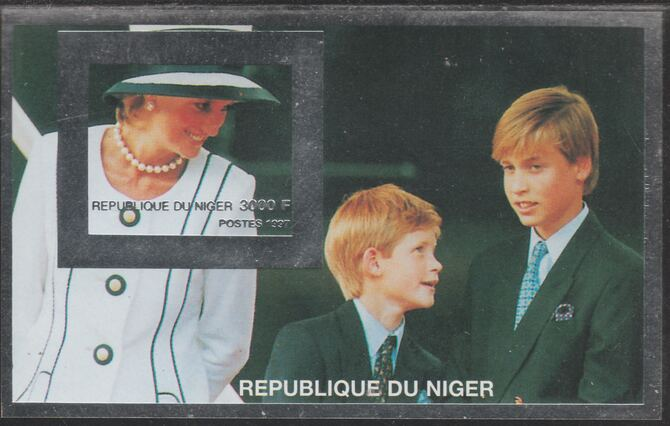 Niger Republic 1997 Princess Diana with William & Harry (Silver frame) imperf souvenir sheet unmounted mint.. Note this item is privately produced and is offered purely on its thematic appeal