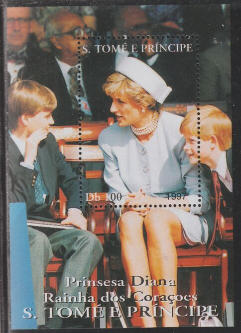 St Thomas & Prince Islands 1997 Princess Diana with William & Harry perf souvenir sheet unmounted mint.. Note this item is privately produced and is offered purely on its thematic appeal