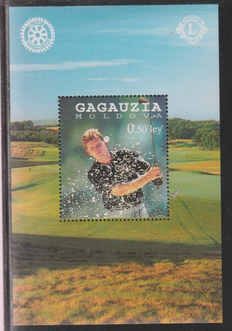 Gagausia Republic 1997 Golf (with Rotary & Lions Logos) perf souvenir sheet unmounted mint.. Note this item is privately produced and is offered purely on its thematic appeal
