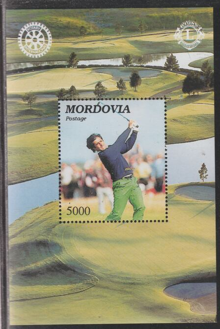 Mordovia Republic 1997 Golf (with Rotary & Lions Logos) perf souvenir sheet unmounted mint.. Note this item is privately produced and is offered purely on its thematic appeal