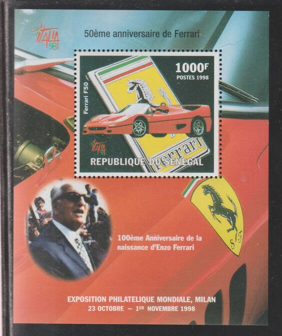 Senegal 1998 Ferrari perf souvenir sheet unmounted mint.. Note this item is privately produced and is offered purely on its thematic appeal