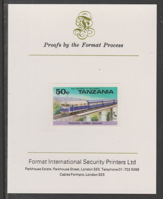Tanzania 1976 Railway Transport 50c Diesel Train imperf mounted on Format International proof card as SG 187