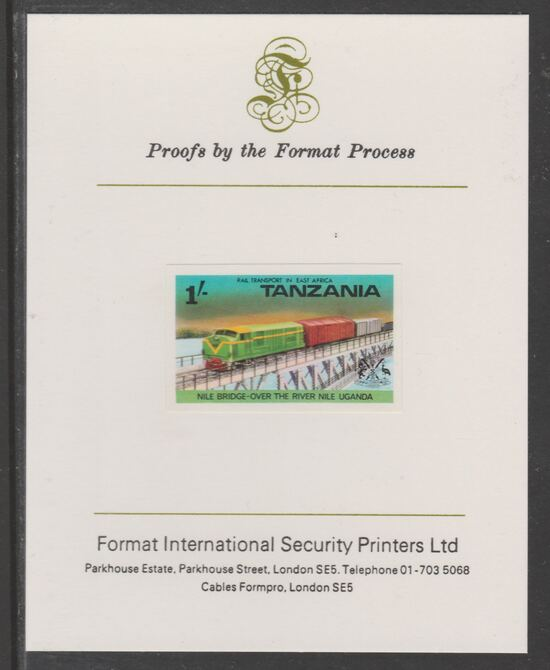Tanzania 1976 Railway Transport 1s Nile Bridge imperf mounted on Format International proof card as SG 188