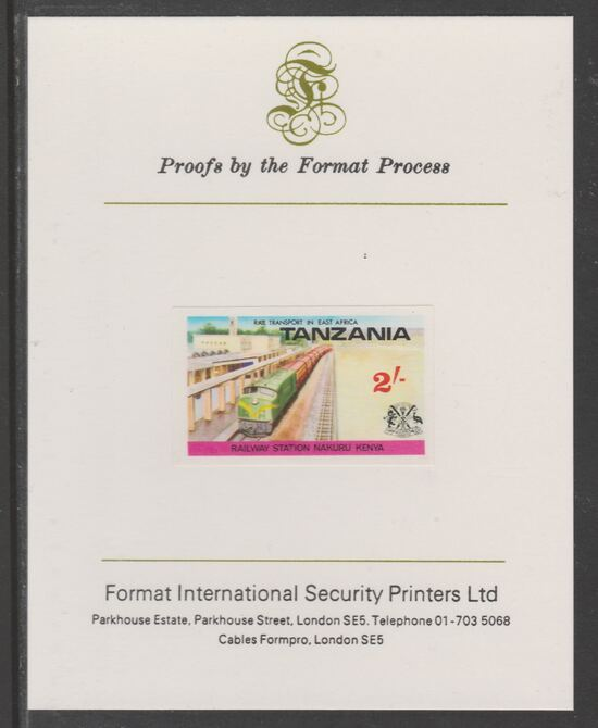 Tanzania 1976 Railway Transport 2s Nakuru Station imperf mounted on Format International proof card as SG 189