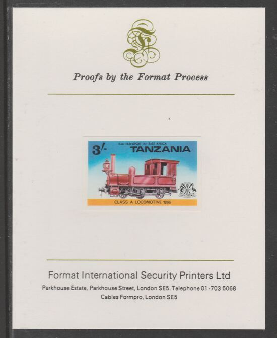 Tanzania 1976 Railway Transport 3s Class A Steam Loco imperf mounted on Format International proof card as SG 190
