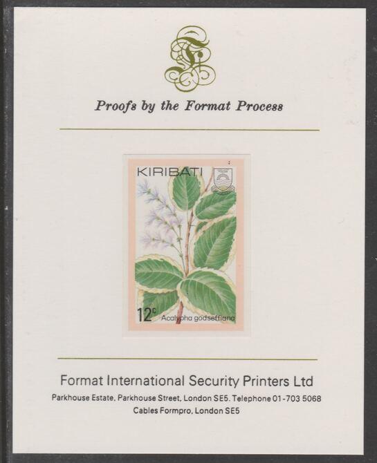 Kiribati 1981 Flowers 12c imperf proof mounted on Format International proof card, as SG141