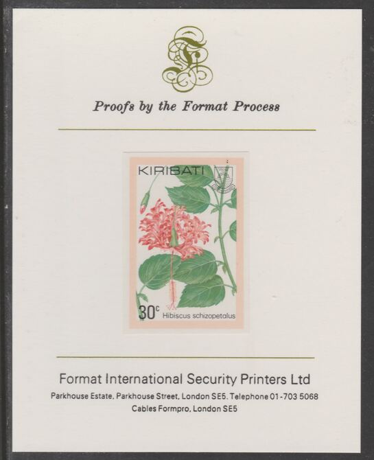 Kiribati 1981 Flowers 30c imperf proof mounted on Format International proof card, as SG142