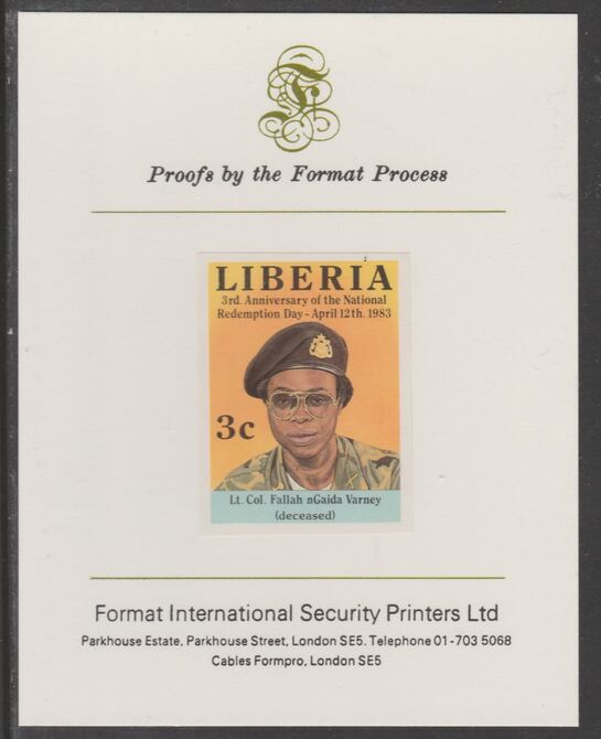 Liberia 1983 Third Anniversary 3c Col Fallah Gaida Varney imperf proof mounted on Format International proof card, as SG1548