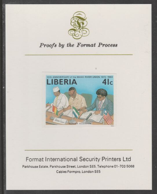 Liberia 1984 Tenth Anniversary of Mano River Union 41c imperf proof mounted on Format International proof card, as SG 1567