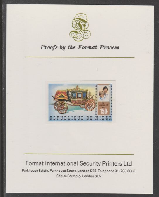 Niger Republic 1981 Royal Wedding 150f imperf proof mounted on Format International proof card, as SG 860