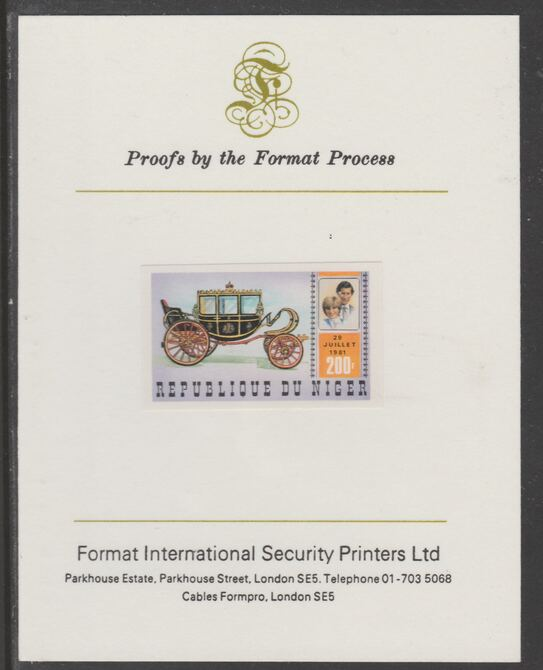 Niger Republic 1981 Royal Wedding 200f imperf proof mounted on Format International proof card, as SG 861