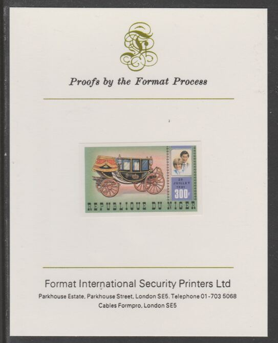 Niger Republic 1981 Royal Wedding 300f imperf proof mounted on Format International proof card, as SG 862