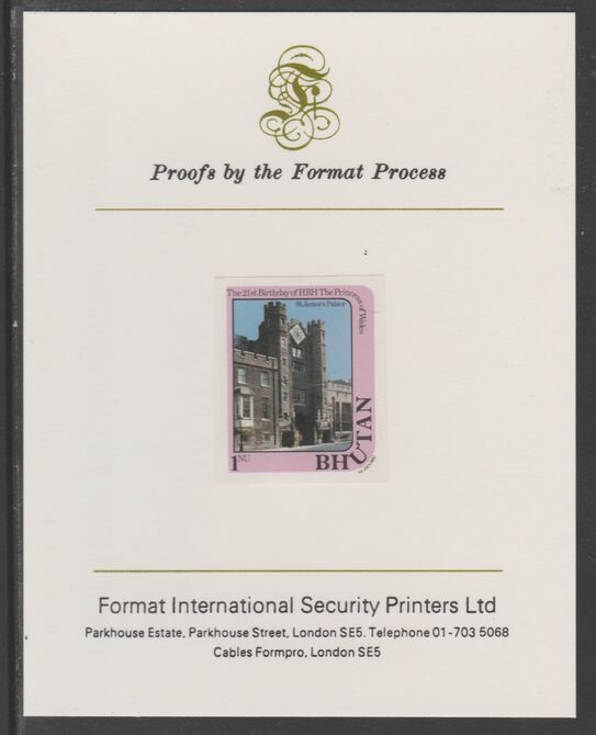 Bhutan 1982 Princess Diana's 21st Birthday 1n imperf proof mounted on Format International proof card, as SG 455