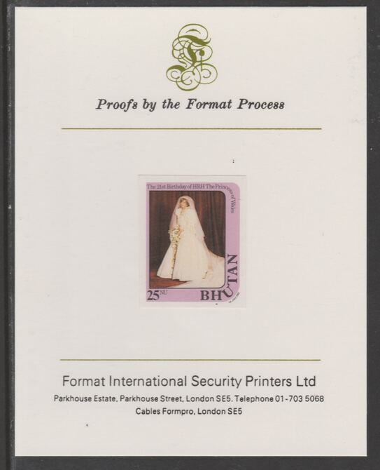 Bhutan 1982 Princess Diana's 21st Birthday 25n imperf proof mounted on Format International proof card, as SG 458