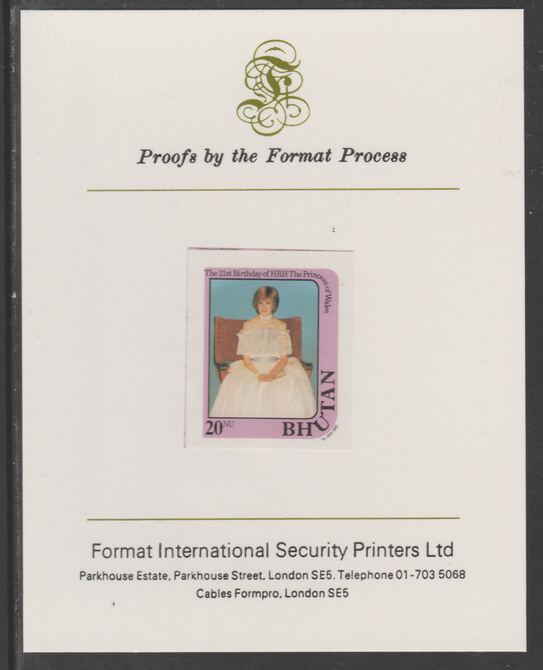 Bhutan 1982 Princess Diana's 21st Birthday 20n  (ex m/sheet) imperf proof mounted on Format International proof card, as SG MS459