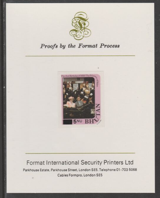 Bhutan 1984 Surcharged on Princess Diana's 21st Birthday 5n on 10n imperf proof mounted on Format International proof card, as SG 579