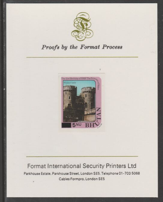 Bhutan 1984 Surcharged on Princess Diana's 21st Birthday 5n on 15n imperf proof mounted on Format International proof card, as SG 580