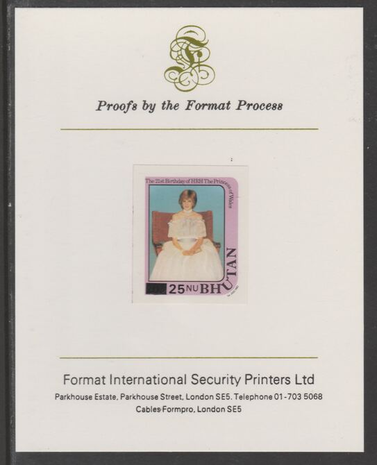 Bhutan 1984 Surcharged on Princess Diana's 21st Birthday 25n on 20n  (ex m/sheet) imperf proof mounted on Format International proof card, as SG MS582