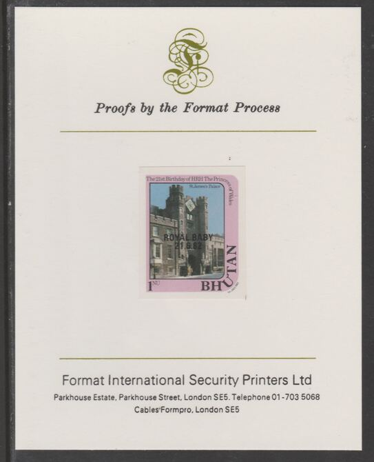 Bhutan 1982 Royal Baby overprint on Princess Dianas 21st Birthday 1n imperf proof mounted on Format International proof card, as SG 475