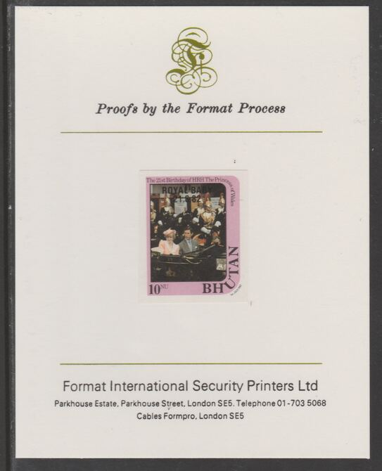 Bhutan 1982 Royal Baby overprint on Princess Dianas 21st Birthday 10n imperf proof mounted on Format International proof card, as SG 476