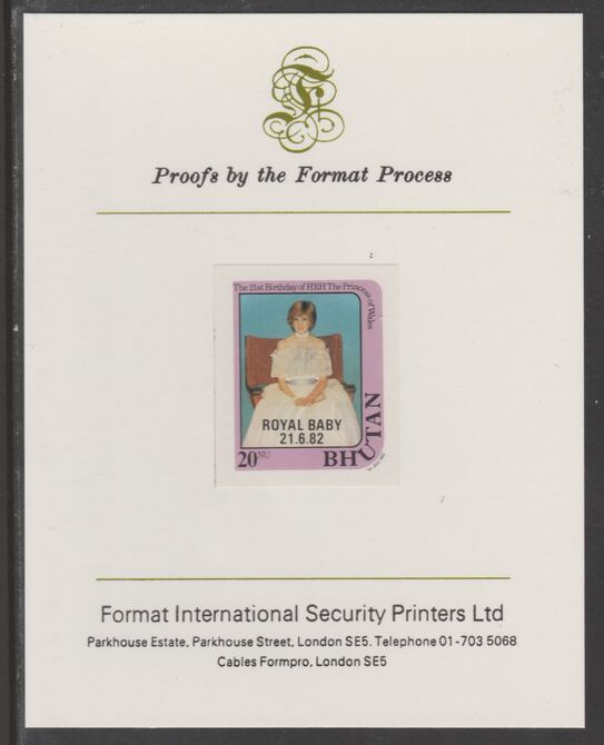 Bhutan 1982 Royal Baby overprint on Princess Dianas 21st Birthday 20n  (ex m/sheet) imperf proof mounted on Format International proof card, as SG MS479