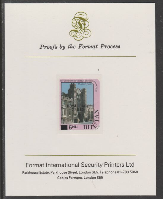 Bhutan 1984 Surcharged on Royal Baby on 21st Birthday 5n on 1n imperf proof mounted on Format International proof card, as SG 583