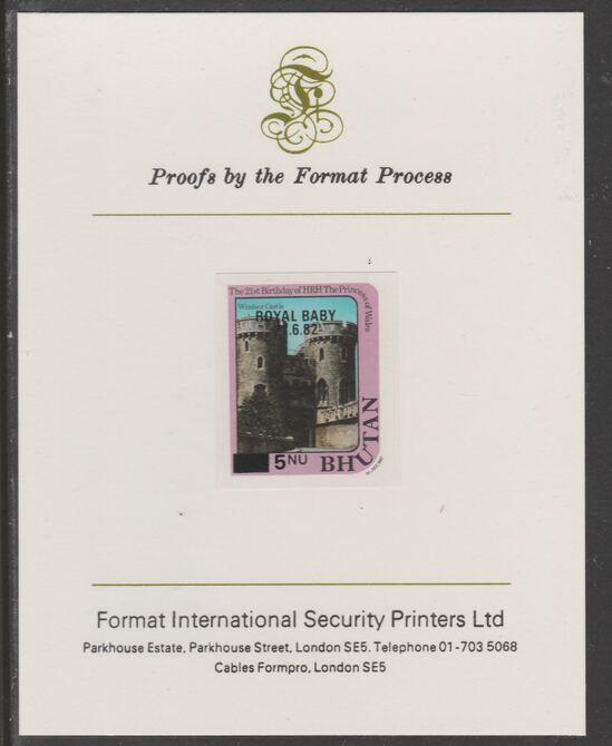 Bhutan 1984 Surcharged on Royal Baby on 21st Birthday 5n on 15n imperf proof mounted on Format International proof card, as SG 585