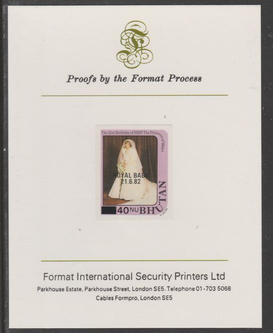 Bhutan 1984 Surcharged on Royal Baby on 21st Birthday 40n on 25n imperf proof mounted on Format International proof card, as SG 586