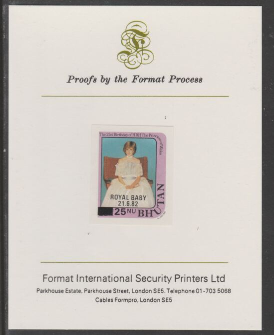 Bhutan 1984 Surcharged on Royal Baby on 21st Birthday 25n on 20n (ex m/sheet) imperf proof mounted on Format International proof card, as SG MS587