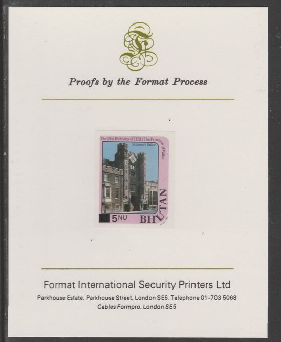 Bhutan 1984 Surcharged on Princess Diana's 21st Birthday 5n on 1n imperf proof mounted on Format International proof card, as SG 578