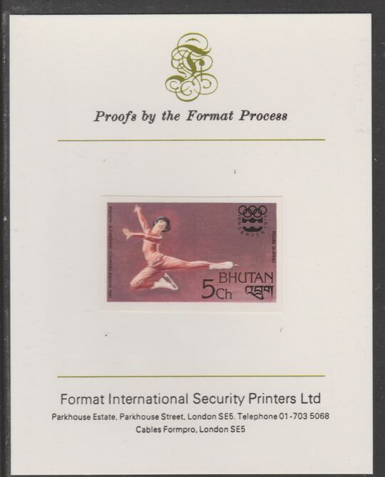 Bhutan 1976 Innsbruck Winter Olympics 5ch (Figure Skating) imperf proof mounted on Format International proof card, as SG 341
