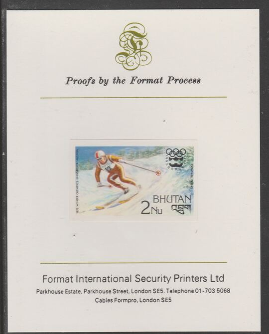 Bhutan 1976 Innsbruck Winter Olympics 2n (Downhill Skiing) imperf proof mounted on Format International proof card, as SG 342