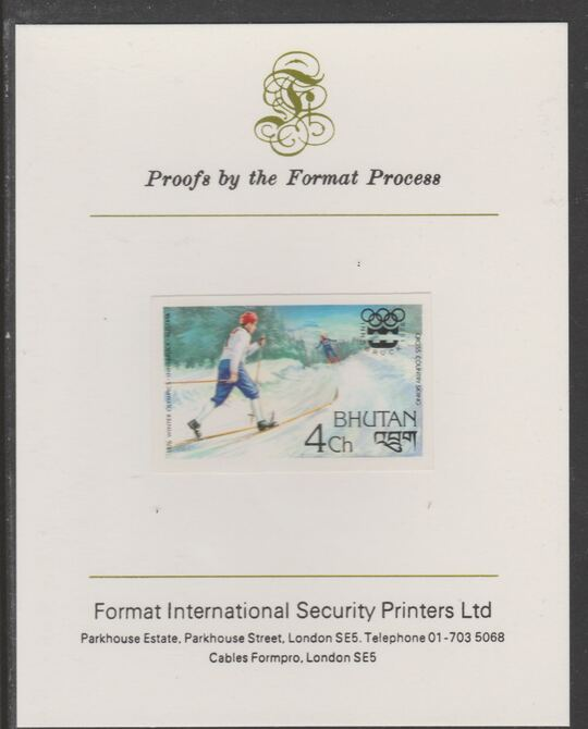Bhutan 1976 Innsbruck Winter Olympics 4ch (Cross-Country Skiing) imperf proof mounted on Format International proof card, as SG 340